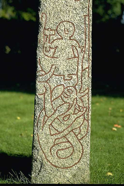 Viking runestone depicting Thor going fishing Altuna stone