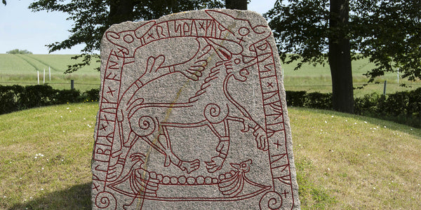 Tullstorp Runestone depicting the Naglfar ship and Fenrir
