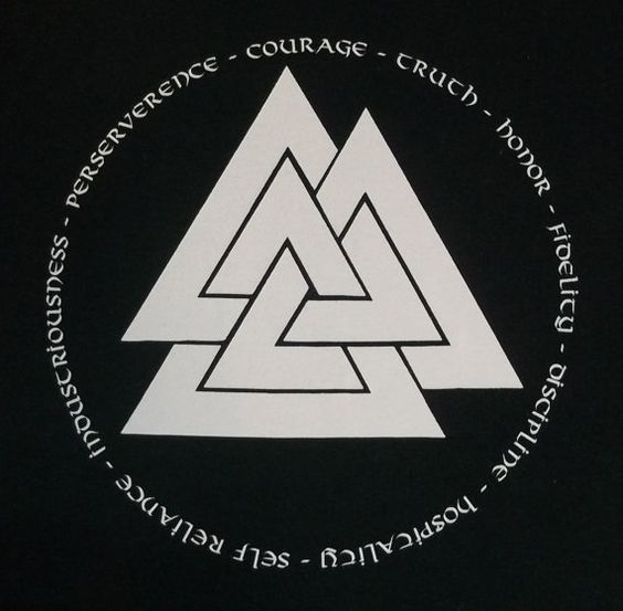 Valknut symbol is three triangles interlocking and pointing upward