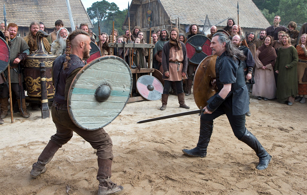 Viking duel Holmgang between Ragnar Lothbrok and Earl Haraldson