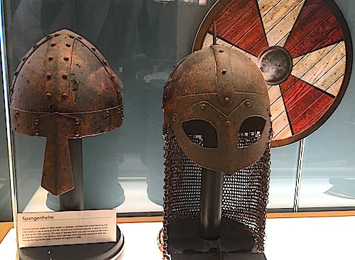 Viking helmet artifact on display in the museum