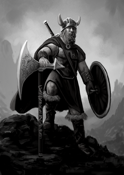 Viking warrior with horned helmet