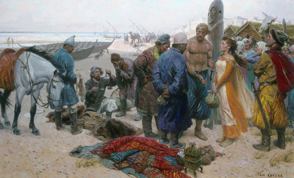 Viking slave in the Viking trade market