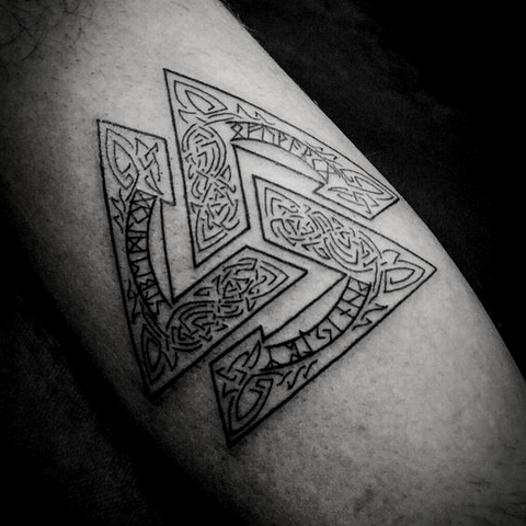 Viking Valknut Tattoo is Odin's tattoo presenting Odins's welcome to Valhalla