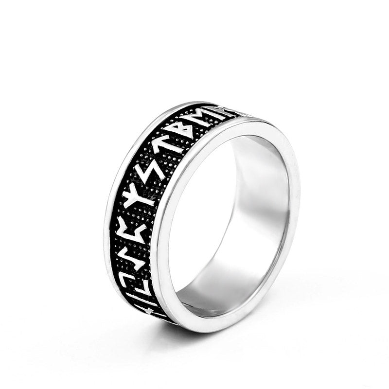 316L Stainless Steel Viking Rune Circle Ring