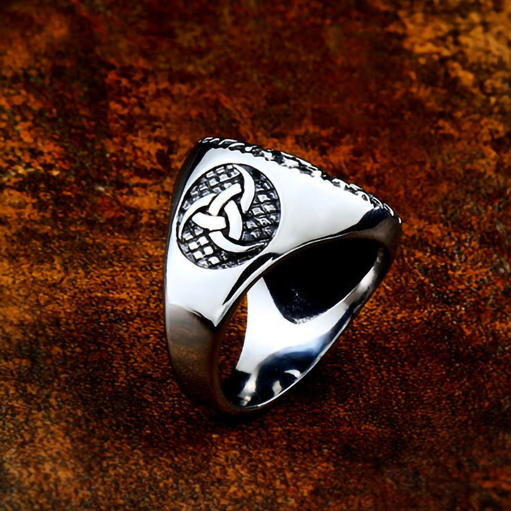 Stainless Steel Odin Triple Horn Rune Cricle Ring