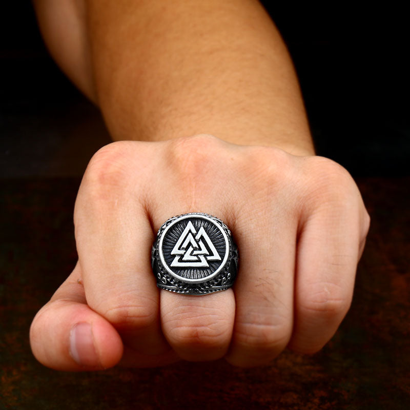 Stainless Steel Viking Valknut Odin Ring