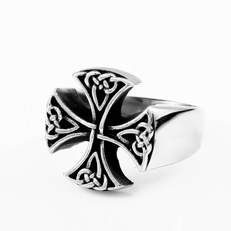 Stainless Steel Celtic Knot Cross Biker Ring