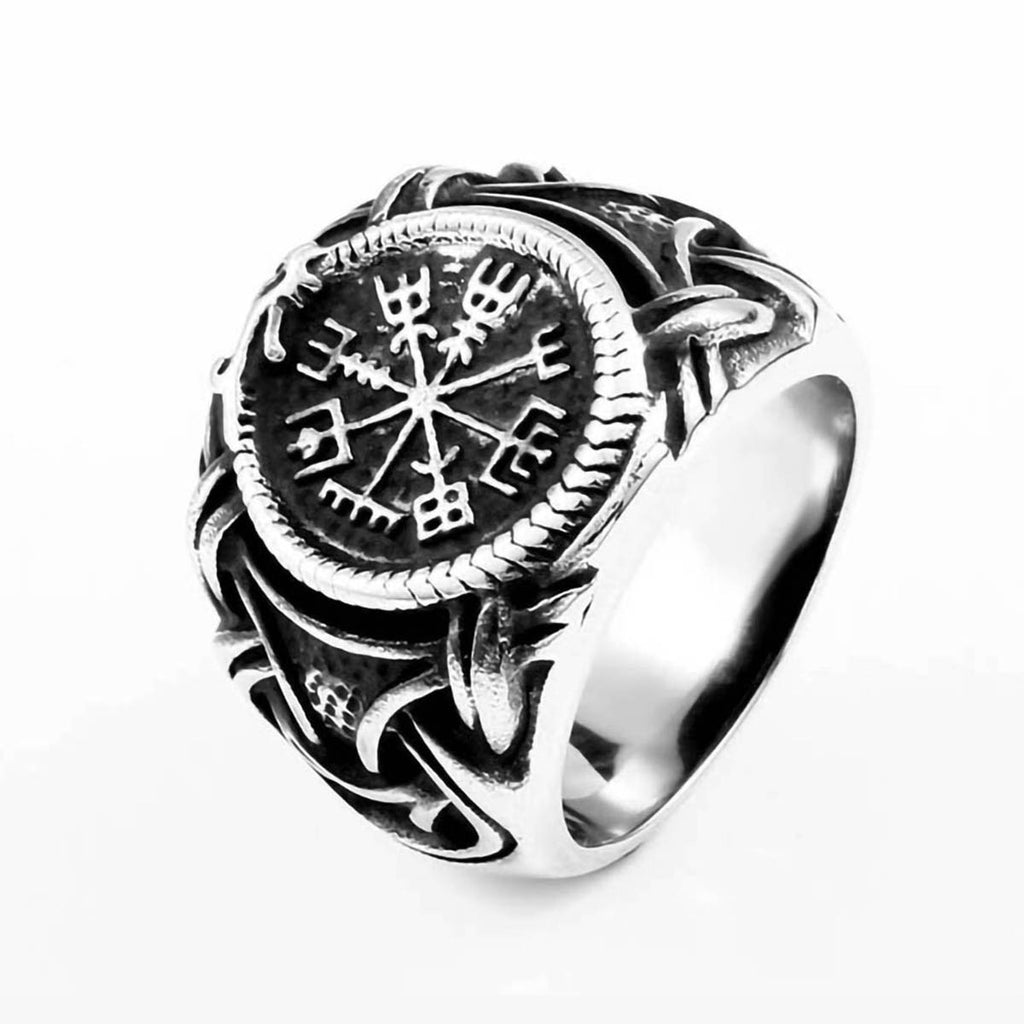 316L Stainless Steel Viking Vegvisir Compass Ring