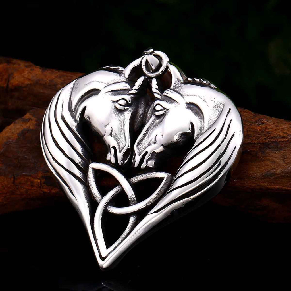 Stainless Steel Celtic Triquetra Knot Double Horse Pendant Necklace