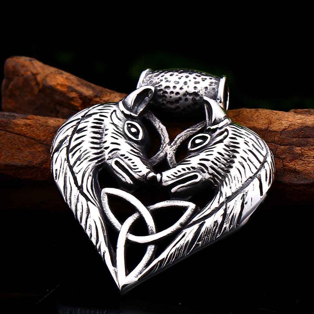 Stainless Steel Double Wolves Head Celtic Triquetra Knot Pendant Necklace