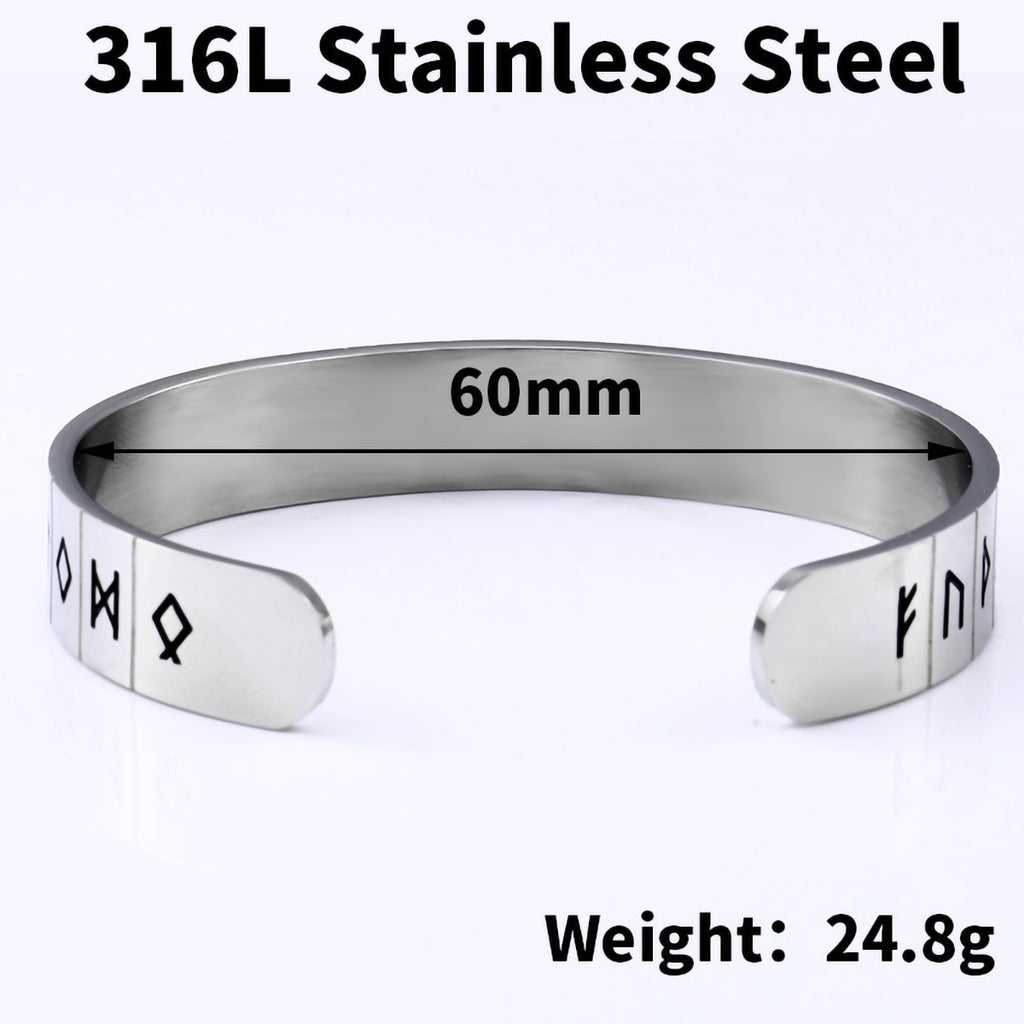 Stainless Steel Viking Rune Futhark Circle Bangle