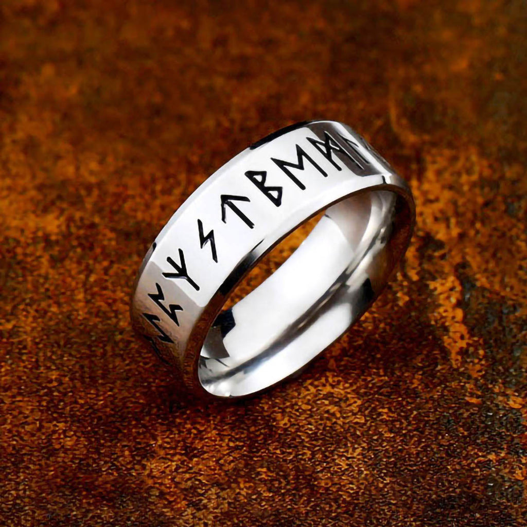 Stainless Steel Silver Tone Rune Circle Ring