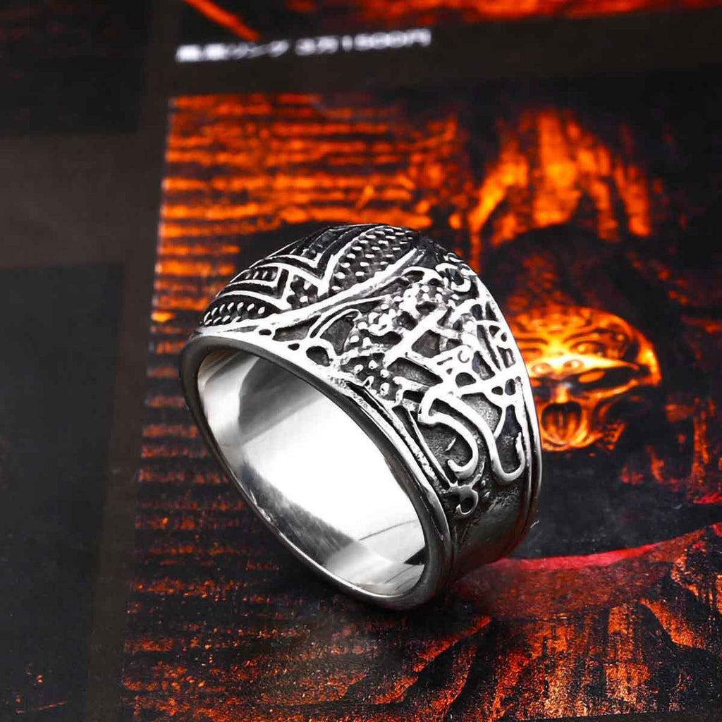 Stainless Steel Viking Norse Odin Valknut Signet Ring