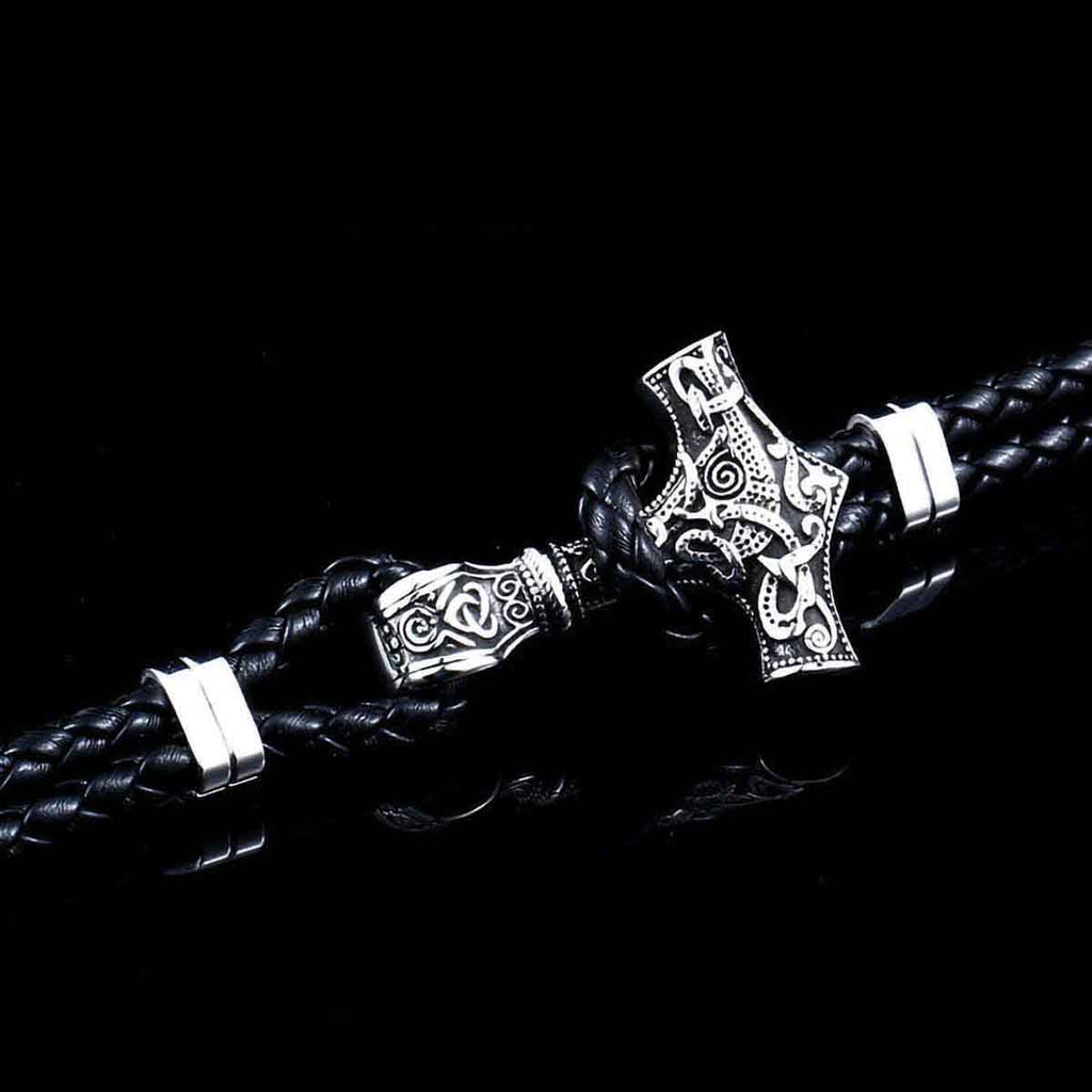 BaviPower Stainless Steel Viking Mjolnir Thor Hammer Braided Leather Bracelet Nordic Ideal Charm