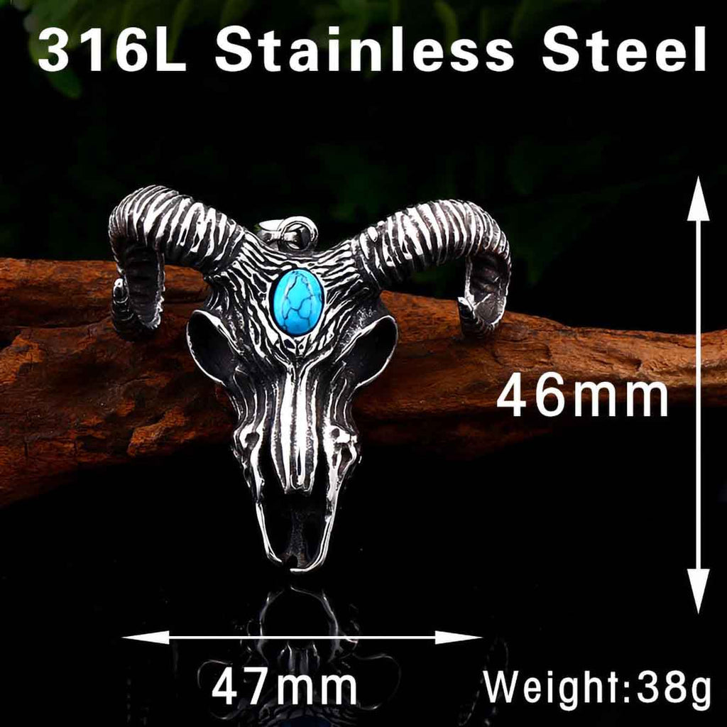 Stainless Steel Thor Goat Skull Turquoise Stone Pendant Necklace