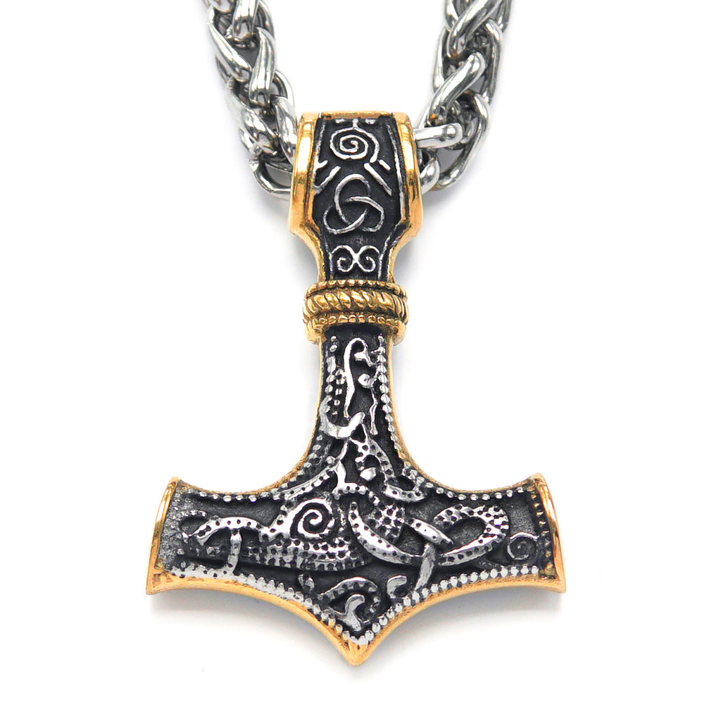 Mixed Gold Thor's Hammer Pendant Necklace