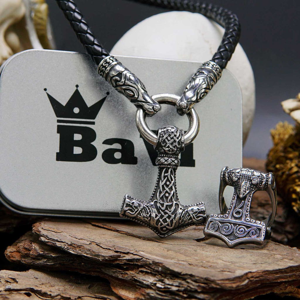 Set Mjolnir Thor Hammer Necklace and Ring