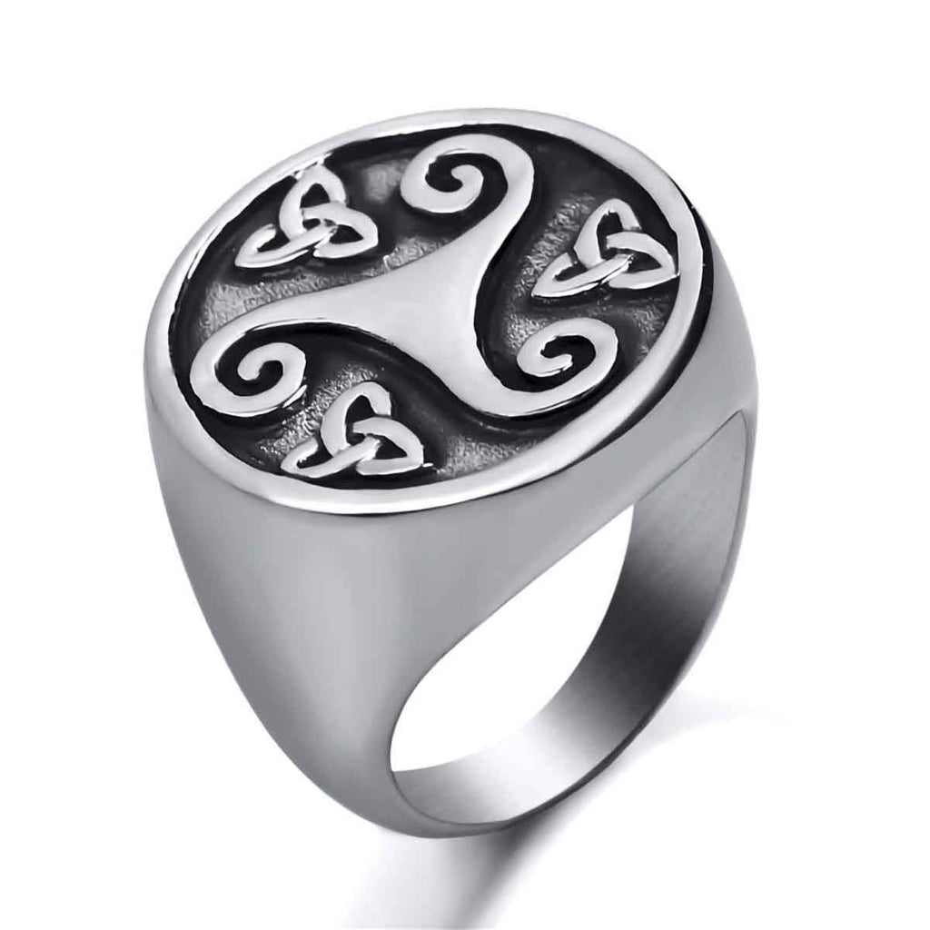 Stainless Steel Celtic Knot Triquetra Triskele Ring