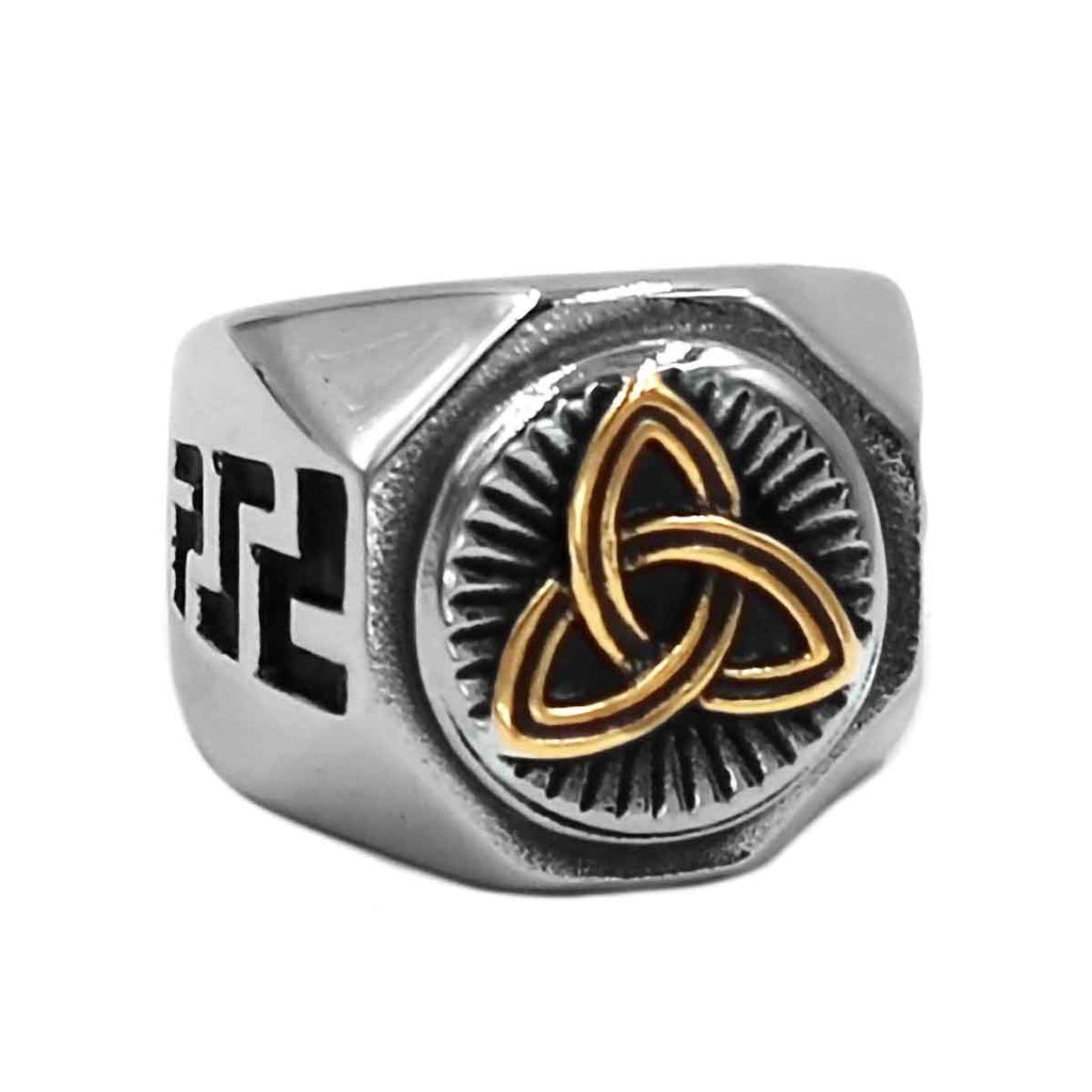 Stainless Steel Gold Tone Celtic Triquetra Ring