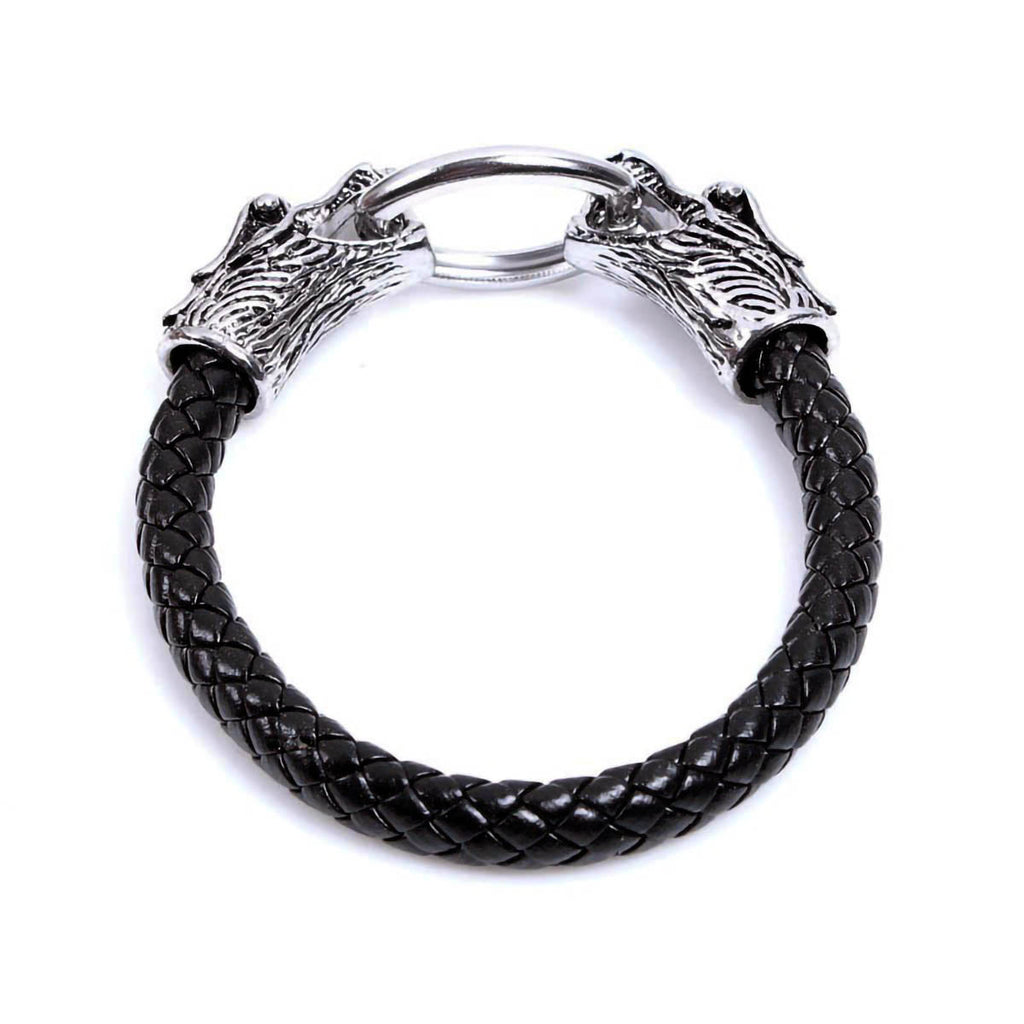 BaviPower Stainless Steel Viking Double Dragon Head Braided Leather Bracelet Viking Ideal Amulet
