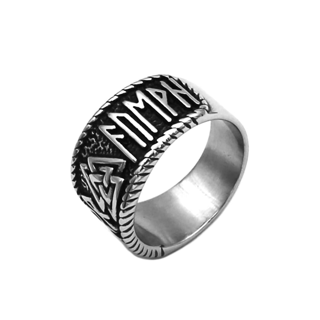 Stainless Steel Viking Valknut Rune Circle Ring