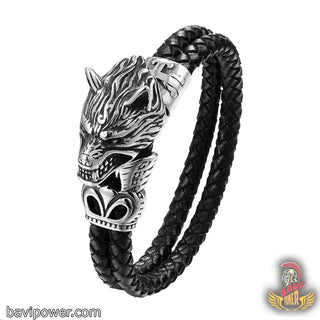 Stainless Steel Viking Fenrir Wolf Head Black Braided Leather Bracelet