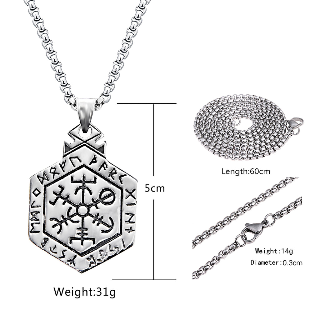 Stainless Steel Viking Vegvisir Compass Rune Othala Necklace with Box Chain