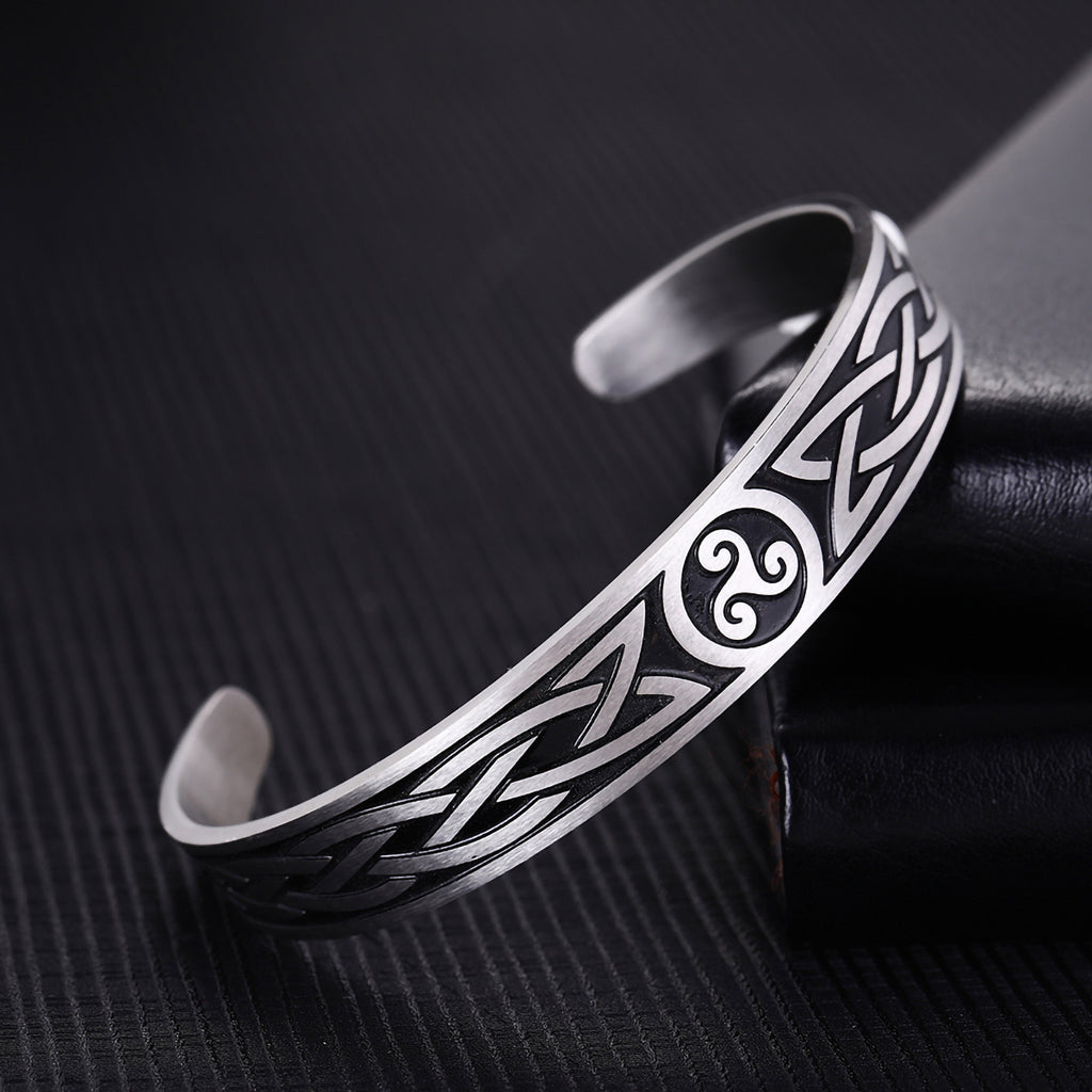 Stainless Steel Celtic Triskele Knot Bangle