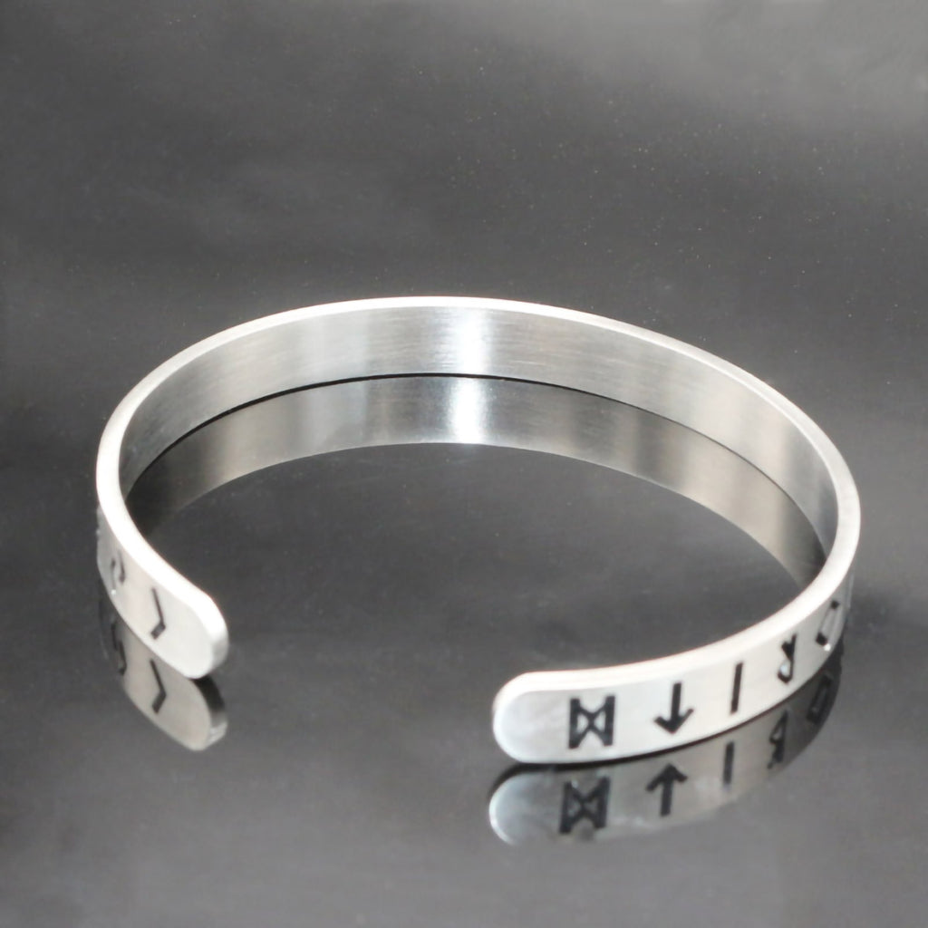 Stainless Steel Minimalist Viking Rune Circle Bangle