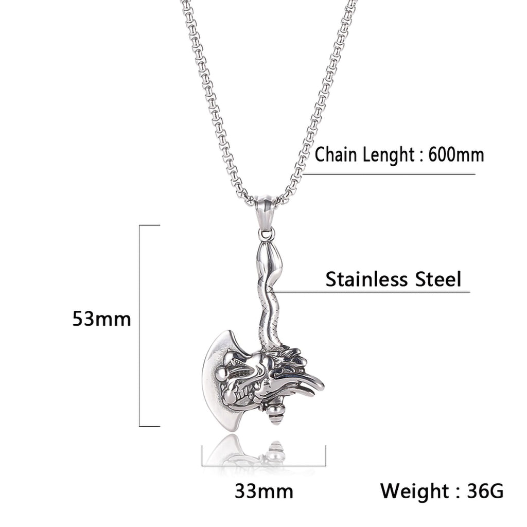 Stainless Steel Dragon Head Viking Axe Pendant Necklace with Box Chain