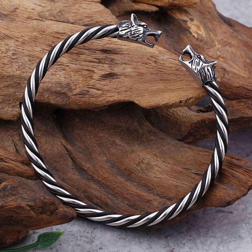 BaviPower Stainless Steel Viking Double Wolf Head Twisted Bangle Cuff Bracelet Viking Nordic Amulet