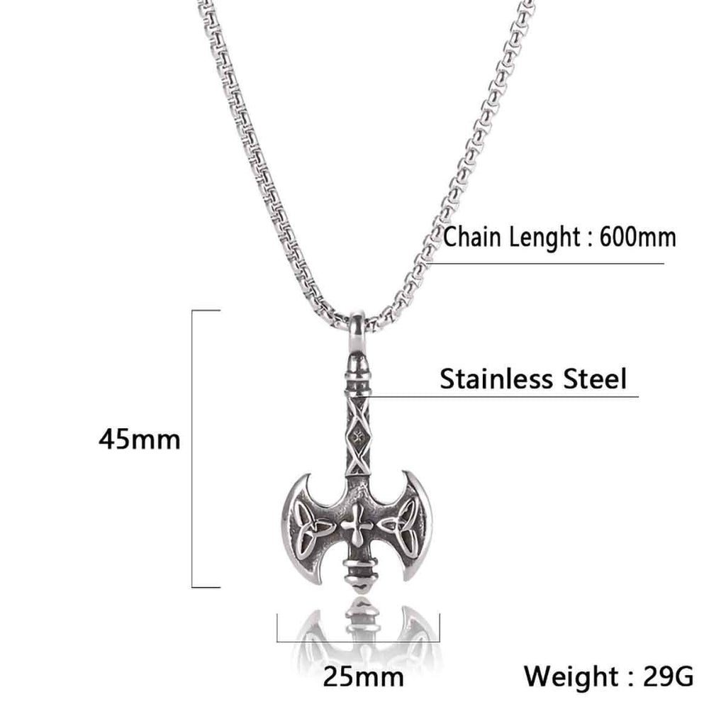 Stainless Steel Viking Battle Axe Celtic Triquetra Pendant Necklace with Box Chain