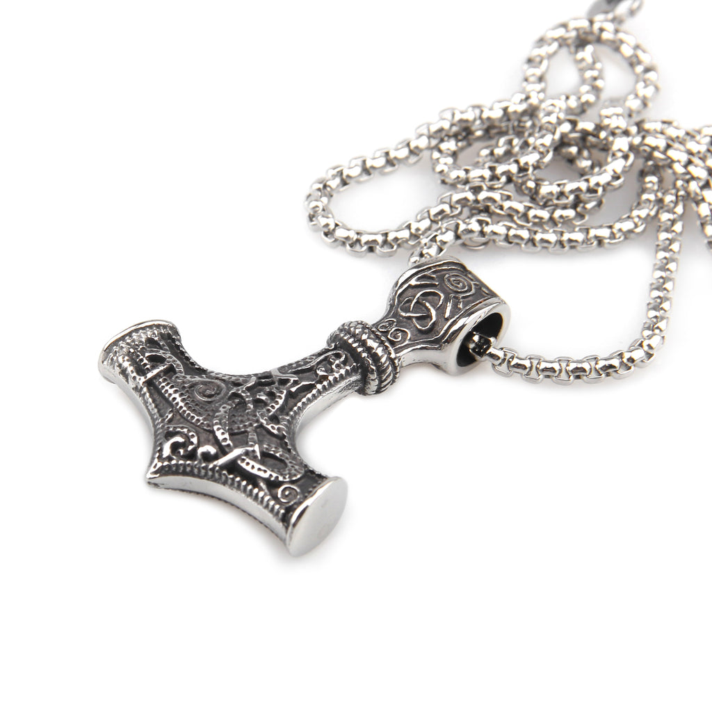 BaviPower Mjolnir The Thor's Hammer Pendant with Box Chain Necklace ♦ Stainless Steel ♦ Norse Scandinavian Necklace ♦ Authentic Viking Men Jewelry