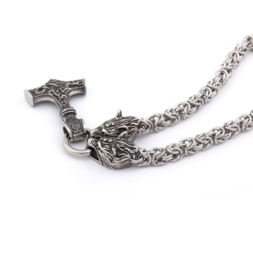 BaviPower Wolf Head Pendant with Fenrir Wolf Head King Chain ♦ Stainless Steel ♦ Nordic Scandinavian Necklace ♦ Authentic Viking Men Jewelry