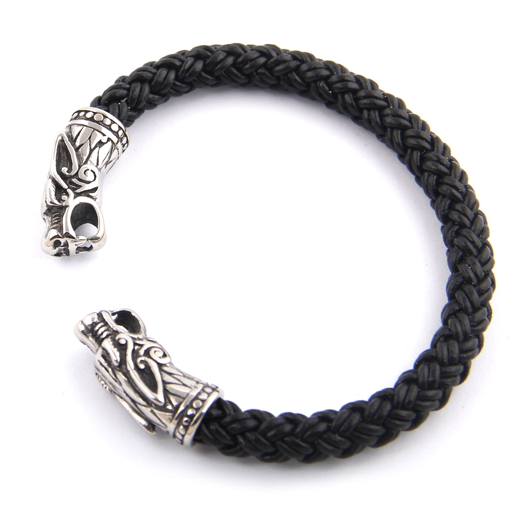 Wolf Head Leather Torc Bangle Bracelet
