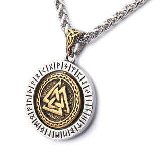 Runic Odin's Valknut Rotating Pendant Necklace