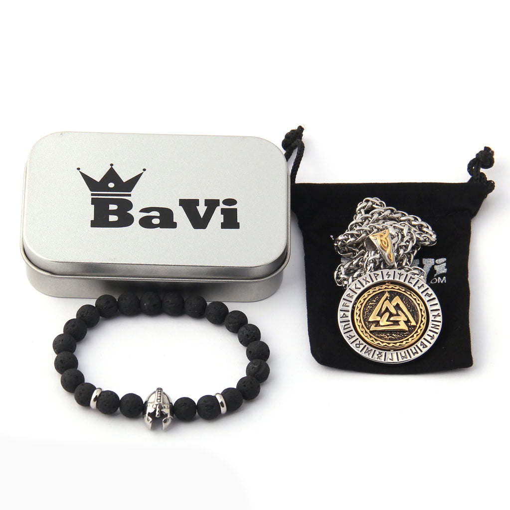 Set of Runic Odin's Valknut Rotating Pendant Necklace and Viking Helmet Bead Bracelet
