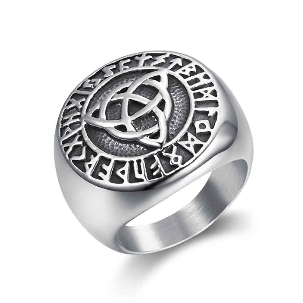 Stainless Steel Celtic Triquetra Rune Circle Ring