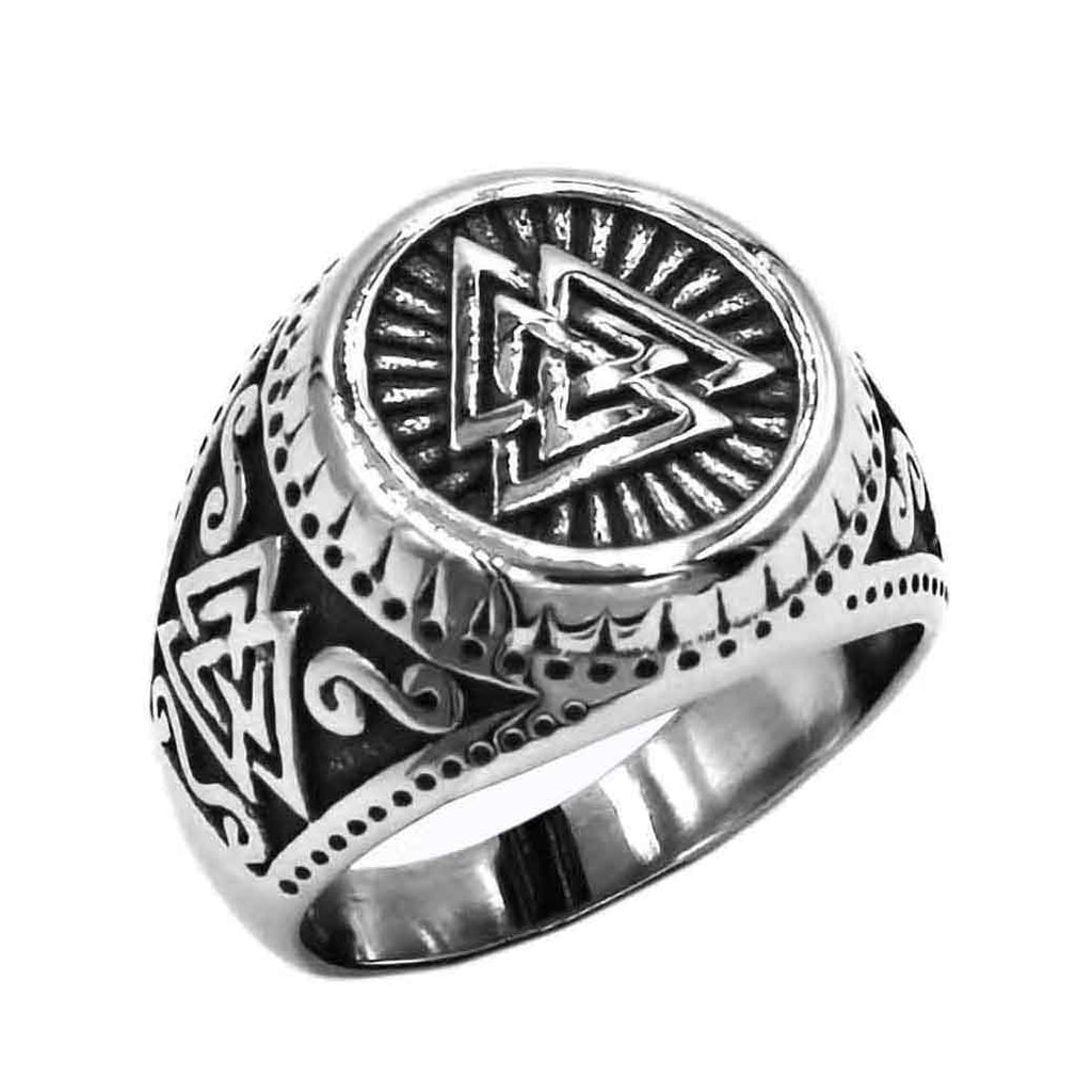 Stainless Steel Odin Valknut Signet Ring