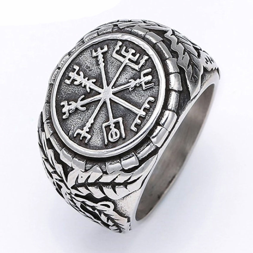 Stainless Steel Viking Vegvisir Compass Signet Ring