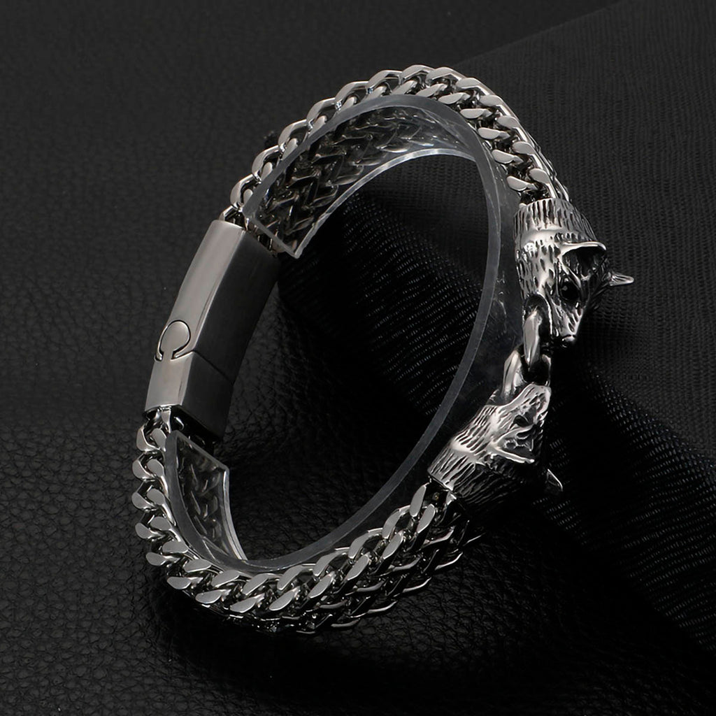 BaviPower Stainless Steel Viking Double Wolf Head Keel Bracelet Viking Nordic Scandinavian Amulet