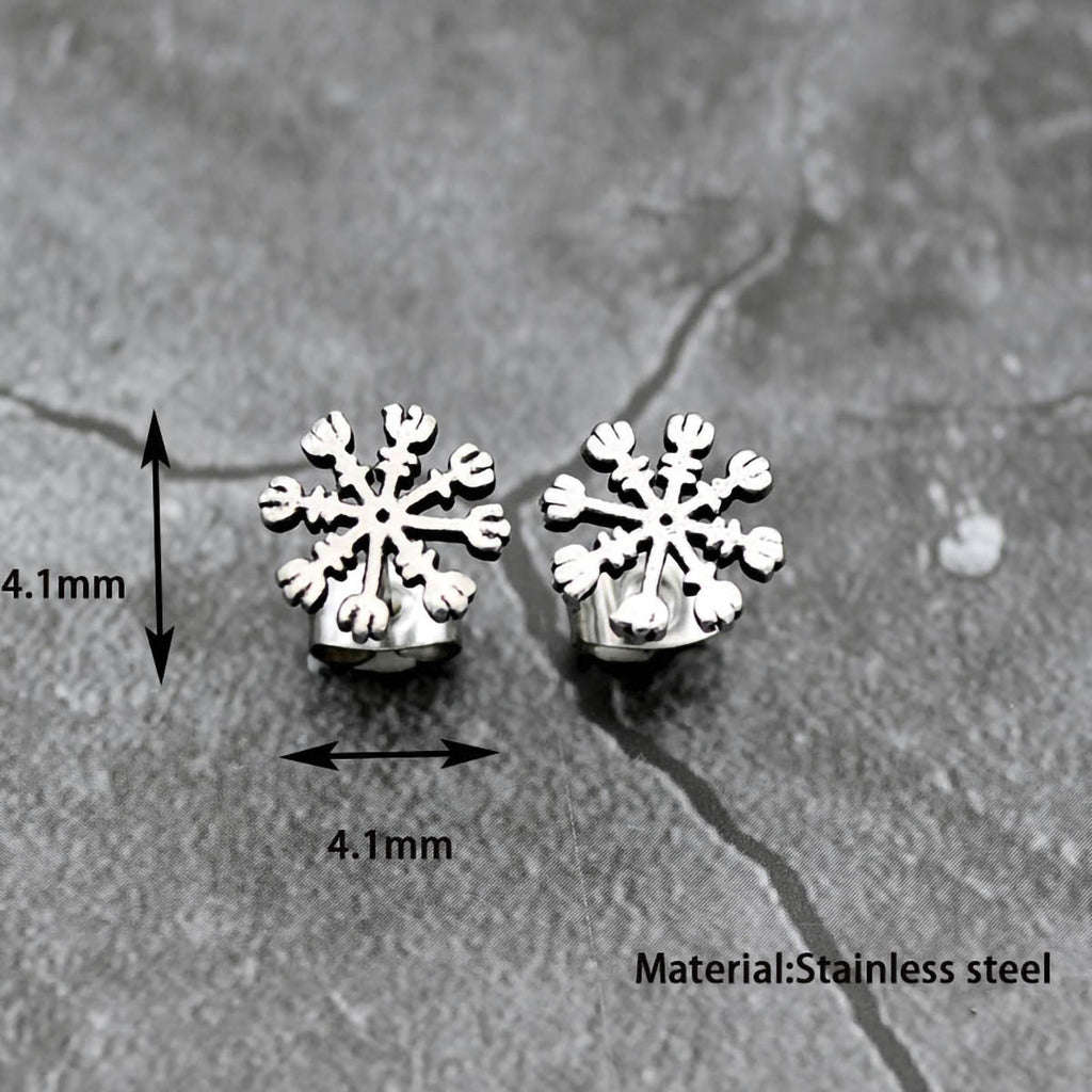 Stainless Steel Viking Vegvisir Compass Earrings