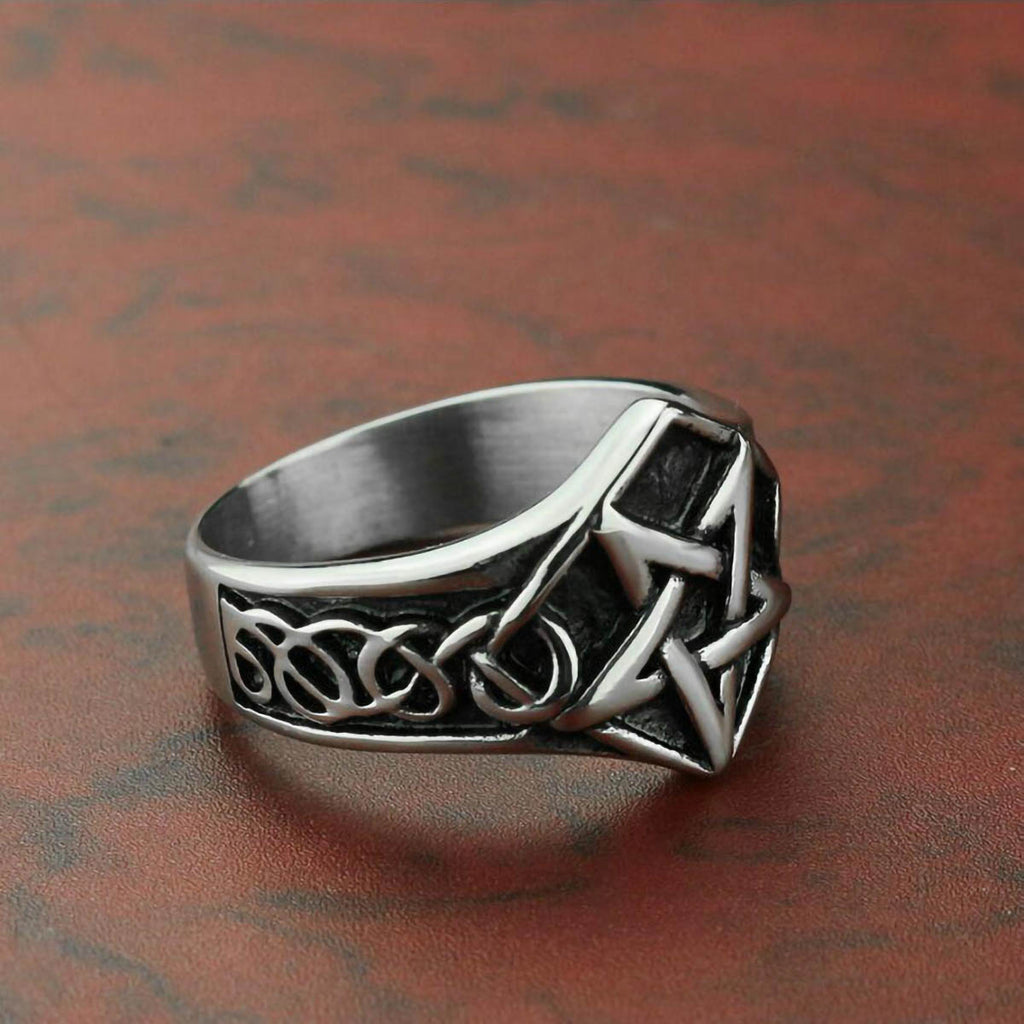 Stainless Steel Pentagram Occult Ring for Men And Women