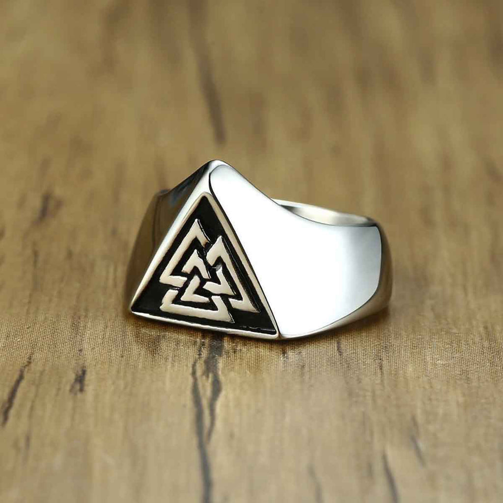 Stainless Steel Viking Odin Valknut Signet Ring