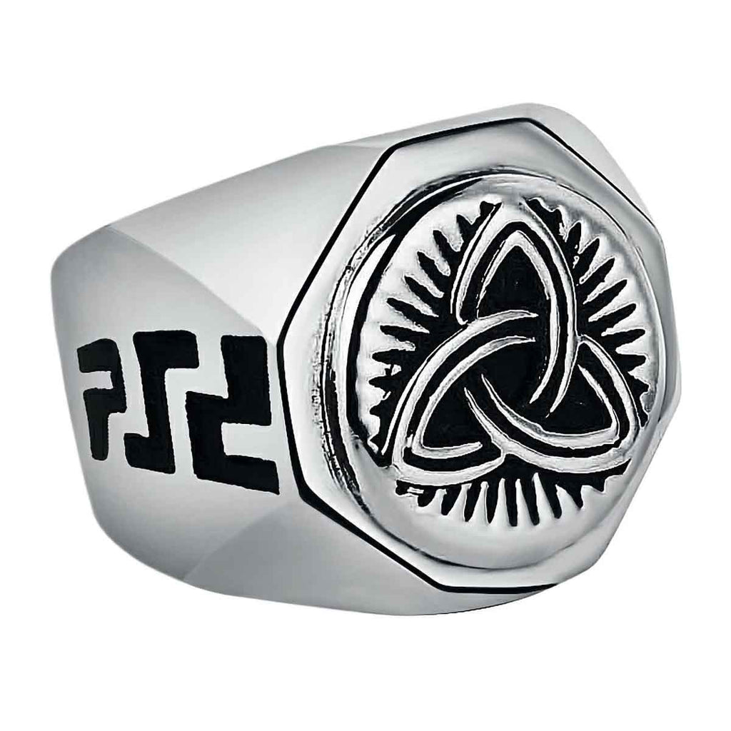 Stainless Steel Celtic Triquetra Knot Signet Ring