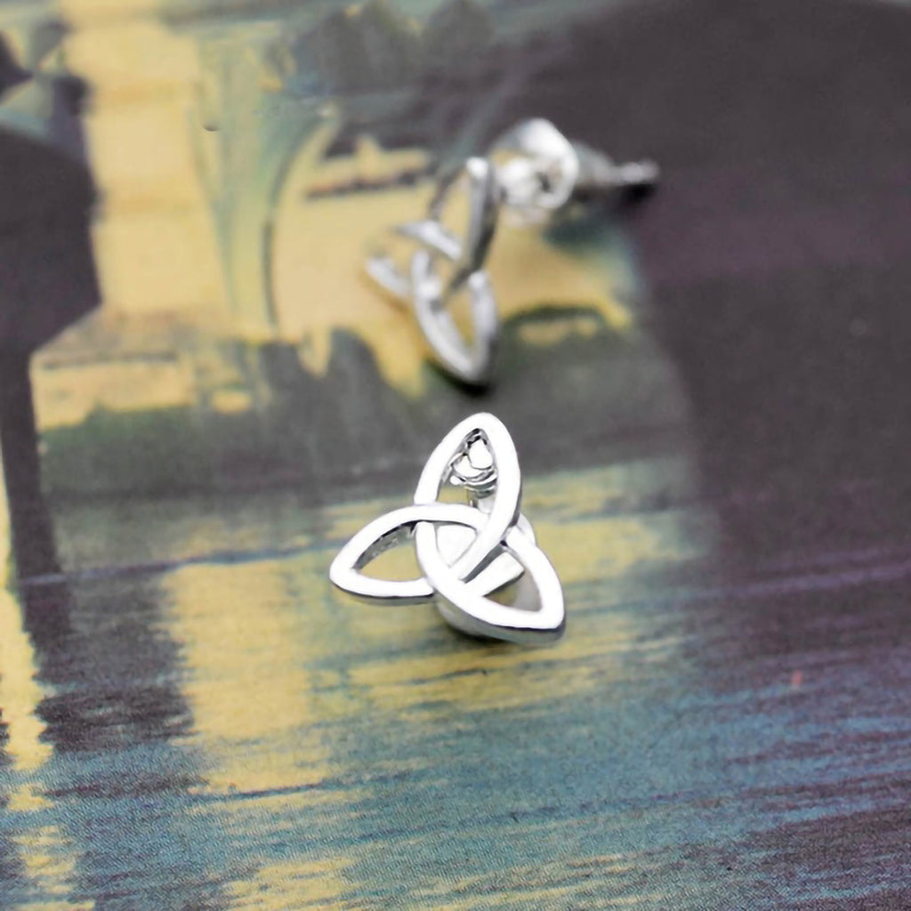 Stainless Steel Celtic Triquetra Knot Stud Earrings