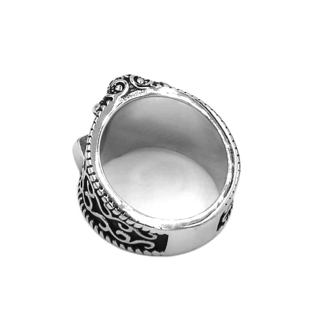 Stainless Steel Norse Raven Thor Hammer Ring