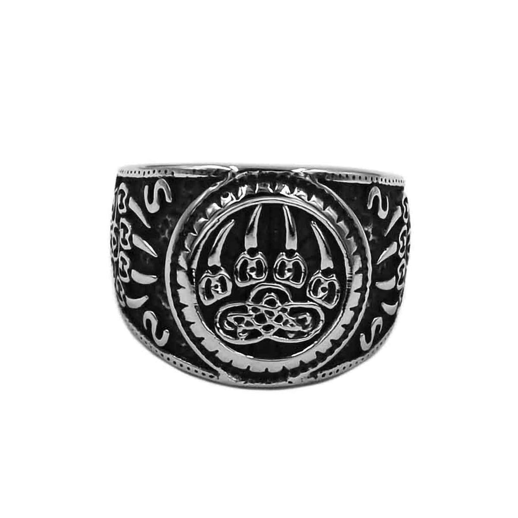 Stainless Steel Viking Bear Paw Celtic Knot Ring