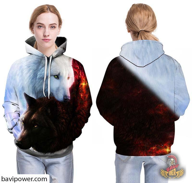 3D Ice and Fire Wolfs Hoodie